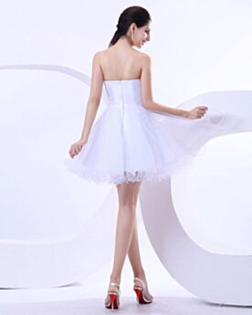 Sweetheart Beaded Tulle Graduation Dress Sleeveless Strapless Simple Ruffle