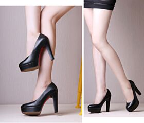 Zapatos Tacon Suela Roja Informales En Punta Fina Tacon Alto 11 cm Sencillos Negro Stilettos Clasicos