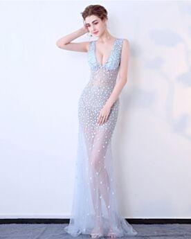Transparent Long Evening Dress 2019 Sexy Light Blue Sequin Red Carpet Dresses Plunge