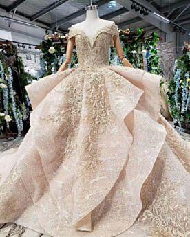Kanten Lange Met Staart Luxe Baljurk Peplum Laag Uitgesneden Glitter Gouden Bruidsjurk Sparkle Applique