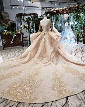Oro Maniche Corte Principessa Glitter Scollo Profondo Bellissimi Balze Vestiti Da Sposa
