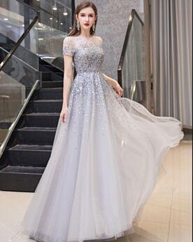 Escote Redondo Imperio Largos Vestidos De Prom Con Cola Tul Linea A Brillantes Plateadas Bonitos Lentejuelas