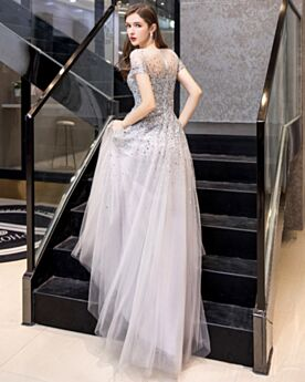 Short Sleeve Silver Sparkly Prom Dress Empire Beautiful Sequin Sweet 16 Dresses A Line Long
