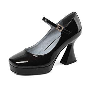 Merceditas De Cuero Clasico Tacones Altos Negro De Charol De Trabajo Zapatos Tacon Tacon Grueso