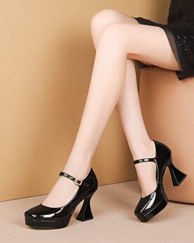 Klassisch Eckigem Schwarz Business Schuhe Pumps Spangenpumps Mit 8 cm High Heel Knöchelriemen Chunky Heel