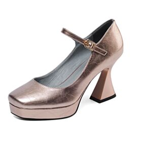 De Charol Tacon Ancho Merceditas Trabajo Tacon Alto Piel Color Champagne Clasico Zapatos Mujer