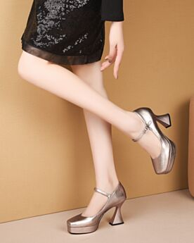 Klassisch Pumps Chunky Heel Knöchelriemen Business Schuhe Mit 8 cm Absatz Leder Eckigem