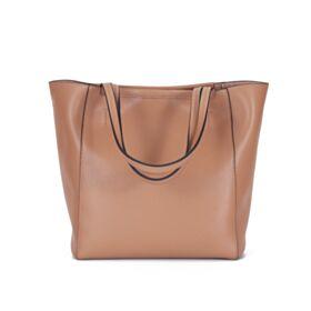 Full Grain Handbag Shoulder Bag Tote Beige Going Out