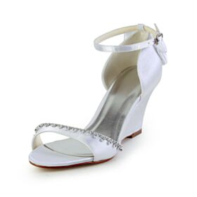 Sandalias Zapatos Novia Con Strass Elegantes Tacon Medio De Saten Cuña Peep Toe Blancos