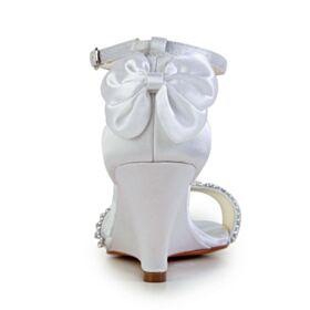 Talon Mid Compensées Élégant Peep Toes Sandales Chaussure De Mariée Blanche Satin Bride Cheville Avec Strass Avec Noeud