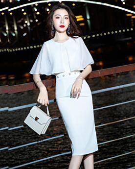 Knee Length Graduation Dress Cocktail Dresses Chiffon Sheath Half Sleeve Simple White