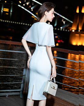 Tüll Chiffon Knielang Etui Perlen Abschlusskleider Cocktailkleid Schlichte Weiß