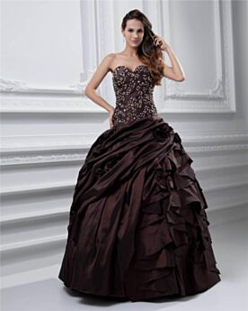 Strapless Prom Dress Sleeveless Long Vintage Ball Gown Beading