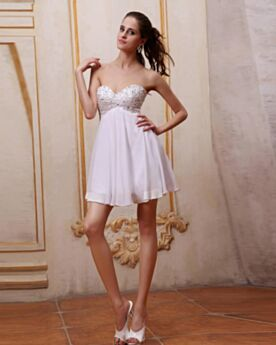 Beading Juniors Mini Skater Graduation Dresses Cute Sexy Summer Chiffon White Sleeveless Cocktail Dress Empire Strapless