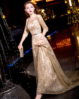 Prom Dress Long With Train Fit And Flare Sequin Elegant Sparkly Red Carpet Dress Evening Dresses Half Sleeve Dress For Special Occasion