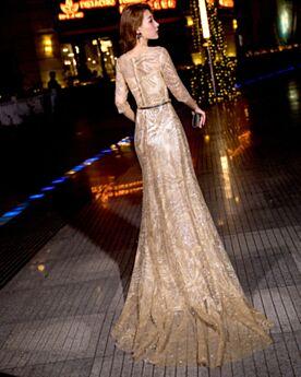 Vestidos De Fiesta Para Prom De Lentejuelas Vestidos De Gala Largos Vestidos Fiesta De Noche Dorados Media Manga Elegantes
