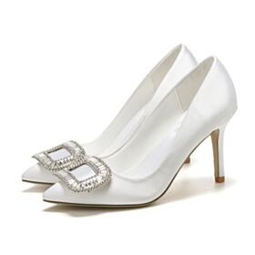 Zapatos Para Novia Satin Blancos En Punta Fina Elegantes Tacon Medio Zapatos Mujer