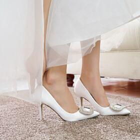 Belle Chaussure Mariée Avec Cristal Blanche Satin Bout Pointu Talon Aiguille Chaussure Demoiselle D honneur Talon Mid Escarpins