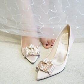 Bridesmaid Shoes Summer Elegant Champagne With Bowknot Stiletto Heels Pointed Toe Bridals Wedding Shoes 3 inch High Heeled Pumps Satin