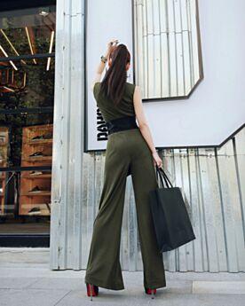 Polyester High Waist Maxi Tiefer Ausschnitt Casual Kleid Olivgrün Jumpsuit Ärmellos