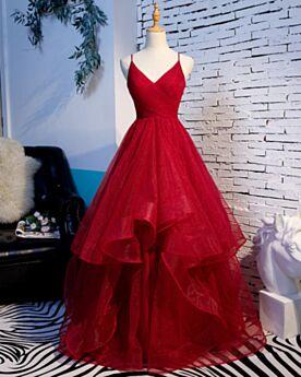 Abiti Da Ballo Glitter Vestiti Cerimonia Lunghi Con Schiena Scoperta Rosso Scollo Profondo A Balze Principessa Vestito Da Sera