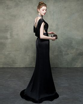 Schwarze Etui Neckholder Ballkleid Abendkleid Lange Rückenausschnitt Elegante