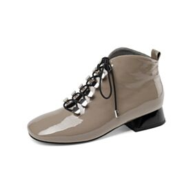 Leder Taupe Mit Absatz Chunky Heel Oxford Schuhe Runde Zeh Comfort