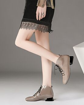 3 cm Low Heel Taupe Office Shoes Patent Lace Up Round Toe Comfortable Thick Heel Leather Winter