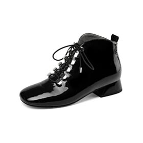 Chunky Heel 3 cm Low Heel Black Round Toe Fashion Office Shoes Leather Lace Up