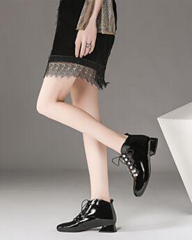 カジュアル ローヒール オフィス ファッション パテント 革 ローヒール ブラック 4719251147-1