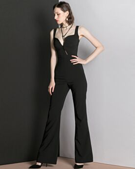 Spring Jumpsuits Simple Long Formal Evening Dresses Black Chiffon