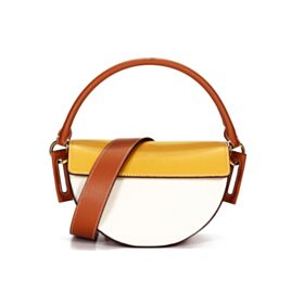Full Grain Satchel Shoulder Bag Crossbody White Cute Leather Handbag Designer Going Out Color Block