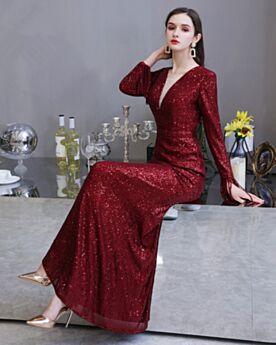 2020 Burgunderrot Etui Lange Ärmel Tiefer Ausschnitt Galakleid Lange Abendkleider Pailletten Glitzernden