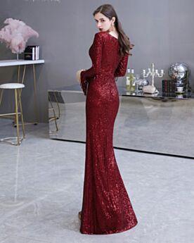 Longue Brillante Sequin Robe Gala Décolleté Bordeaux Manche Longue Fourreau