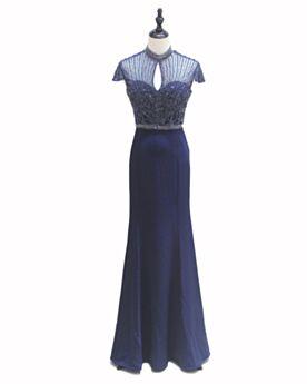 Empire Elegante Brautmutterkleider Tiefer Ausschnitt Dunkelblaues Abendkleider Lange
