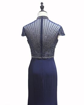 Mother Of Bridal Dresses High Neck Formal Evening Dresses Low Cut Dark Blue Empire Short Sleeve