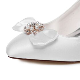 8 cm High Heel Elegante Pumps Satijnen Stiletto Trouwschoenen Witte
