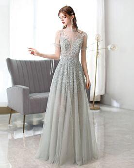 Ballkleider Abendkleider Transparentes Schöne Hochgeschlossene Tiefer Ausschnitt Pailletten Silber Glitzernden Herrlich Rückenausschnitt Lange