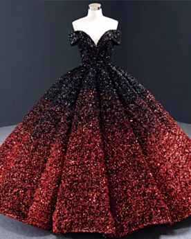 Off Shoulder Lange Ballkleider Quinceanera Kleid Kurzarm Rückenausschnitt Tiefer Ausschnitt Burgunderrot Pailletten Luxus Prinzessin