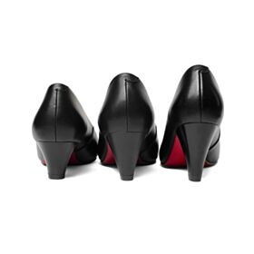 Pumps Kitten Heel Summer Black Office Shoes Red Bottoms Chunky Heel Leather