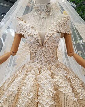 Glitter Champagne Con Schiena Scoperta Vestiti Da Sposa Scollati Chiesa Principessa In Tulle Pizzo