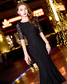 Charming Cocktail Dresses Sheath Black Lace Scoop Neck