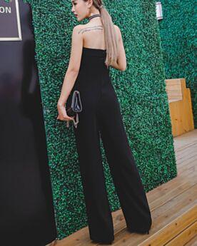 オープンバック ロング シフォン シンプル な ハイ ウエスト ブラック パンツ ドレス カジュアル オフショルダー 48220190115