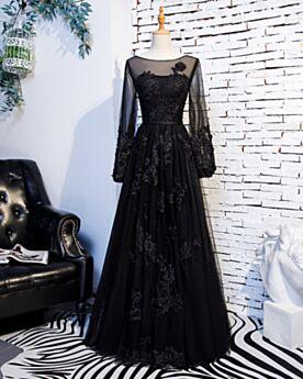 Appliques Long Sleeves Long Empire Transparent Formal Dresses Prom Dresses Tulle A Line Lace Black Elegant