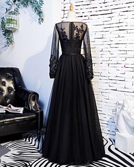 Prinzessin Abendkleider Spitzen Transparentes Ballkleider Lange Ärmel Applikationen Empire Schwarz