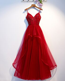 Vintage Tulle Red Long Bridesmaid Dress Backless Low Cut Sleeveless 2019 Formal Evening Dress Appliques