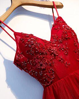 Spaghettiträger Fit N Flare Rot Rückenfreies Tiefer Ausschnitt Abendkleid Kleider Für Festliche Trauzeugin Kleid Perlen Vintage Lange