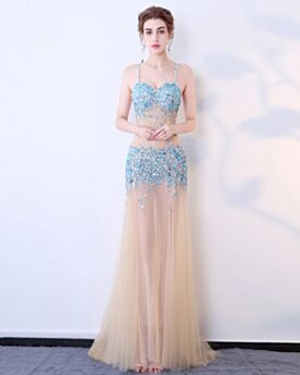 Sparkly Sexy Sleeveless Formal Evening Dresses Low Cut Long Transparent Sky Blue Club Dresses Luxury Sequin