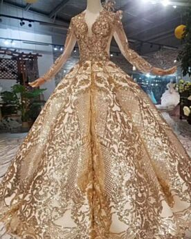 Bridal Gown Gold Ball Gown Tassel Transparent Church Luxury Glitter Plunge Sparkly Long Long Sleeve Appliques