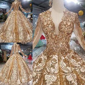 Lange Mouwen Lange Baljurk Franjes Doorkijk Gouden Trouwjurken Glitter Luxe Sparkle Laag Uitgesneden